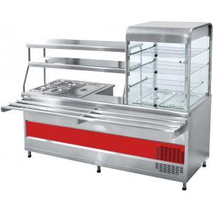 Мини-линия раздачи: прилавок-витрина холодильный справа, мармит универсальный, L2.28м, нерж.сталь