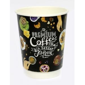 Стакан бумажный для горячих напитков двухслойный Premium Coffee 250мл