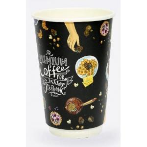 Стакан бумажный для горячих напитков двухслойный Premium Coffee 400мл
