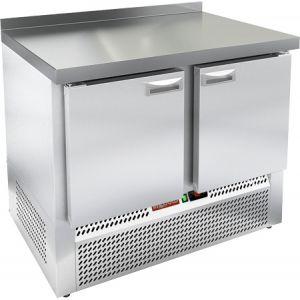 Стол холодильный, GN1/1, L1.00м, борт H50мм, 2 двери глухие, ножки, -2/+10С, пластификат, дин.охл., агрегат нижний, столешница нерж.сталь