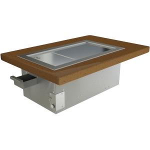 Гриль-сковорода индукционная, 1 зона 5.0кВт, поверхность рифленая стальная, без борта, встраиваемая