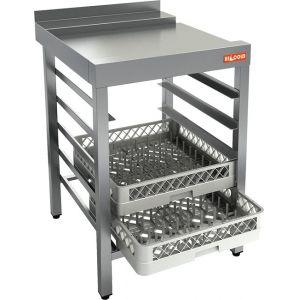 Стол выходной для машин посудомоечных, L0.60м, 1 борт, направляющие для 5 корзин, нерж.сталь 430, левый