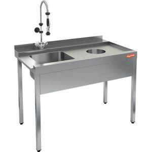 Стол входной для машин посудомоечных, L1.20м, 1 борт, 4 ножки, мойка 400х400х250мм, правый, нерж.сталь, отв.для отходов справа, фартук