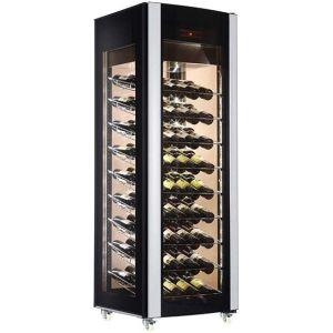 Шкаф холодильный для вина,  81бут., 1 дверь стекло, 9 полок, колеса, +5/+18С, дин.охл., чёрный, 4-х стороннее остекление