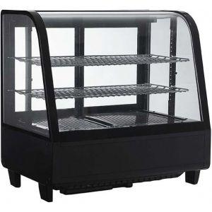 Витрина холодильная настольная, горизонтальная, L0.68м, 2 полки, 0/+12С, дин.охл., чёрная, стекло фронтальное гнутое