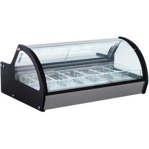 Витрина морозильная настольная, горизонтальная, для мороженого, L1.17м, 6 лотков, -13/-22С, дин.охл., черная, короб из поликарбоната