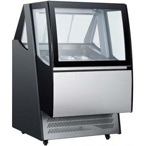 Витрина морозильная напольная, горизонтальная, для мороженого, L0.90м,  8 лотков, -18/-24С, дин.охл., черная, стекло фронтальное гнутое