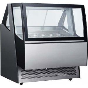 Витрина морозильная напольная, горизонтальная, для мороженого, L1.24м, 12 лотков, -18/-24С, дин.охл.. черная, стекло фронтальное гнутое
