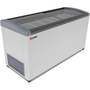 Ларь морозильный, 520л, 2 крышки стеклянные гнутые раздвижные, -12/-25С, 6 корзин, колеса, белый, R134a, замок, отделка серая