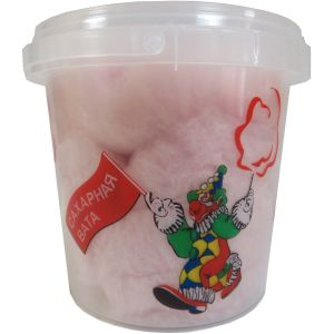 Сахарная Вата в пластиковом стакане с крышкой, клубника, 50г.