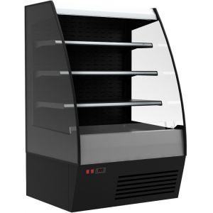 Витрина холодильная напольная, горизонтальная, для самообслуживания, L1.34м, 3 полки, +2/+7С, дин.охл., черно-серебристая, фронт открытый, прозрач.
