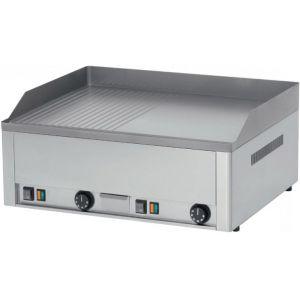 Гриль-сковорода электрическая, 2 зоны, поверхность комбинированная (гладкая+рифленая) стальная, настольная