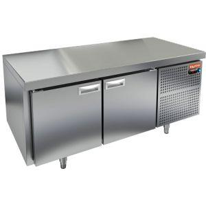 Стол холодильный низкий, GN2/3, L1.39м, без борта, 2 двери глухие, ножки, -2/+10С, нерж.сталь, дин.охл., агрегат справа