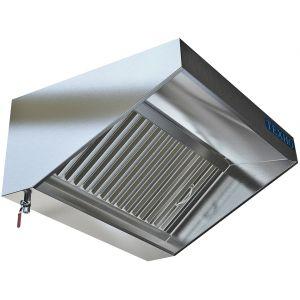 Зонт вытяжной пристенный,  700х800х400мм, лаб.фильтры, кепкой, нерж.сталь, без подсветки, без отверстия