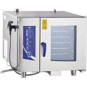 Пароконвектомат электрический бойлерный,  6GN1/1, электронное управление, щуп, реверс, душ, полуавтоматическая мойка