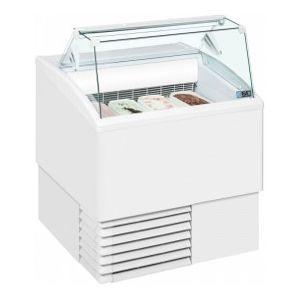 Витрина морозильная напольная, горизонтальная, для мороженого, L0.82м,  8 лотков, -14/-16С, стат.охл., белая, стекло фронтальное прямое, колеса