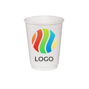 Стакан бумажный для горячих напитков двухслойный 300мл с ЛОГОТИПОМ