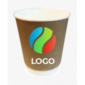 Стакан бумажный для горячих напитков двухслойный крафт 250мл с ЛОГОТИПОМ
