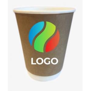Стакан бумажный для горячих напитков двухслойный крафт 300мл с ЛОГОТИПОМ
