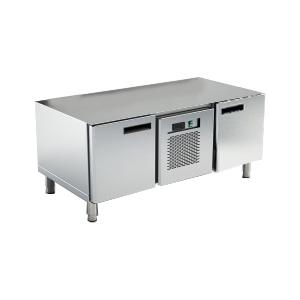 Стол холодильный низкий, L1.20м, без столешницы, 2 двери глухие, ножки, +2/+10С, нерж.сталь, агрегат центр.