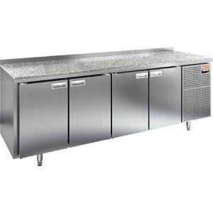 Стол холодильный, GN2/3, L2.28м, борт H50мм,  4 двери глухие, ножки, -2/+10С, нерж.сталь, дин.охл., агрегат справа, столеш.камень