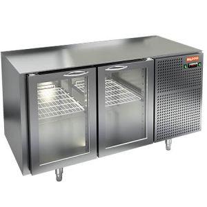 Стол холодильный, GN2/3, L1.39м, без столешницы, 2 двери стекло, ножки, -2/+10С, нерж.сталь, дин.охл., агрегат справа