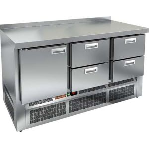 Стол холодильный, GN2/3, L1.49м, борт H50мм, 1 дверь глухая+4 ящика, ножки, -2/+10С, нерж.сталь, дин.охл., агрегат нижний