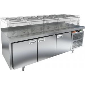 Стол морозильный низкий, GN1/1, L1.84м, борт H50мм, 3 двери глухие, ножки, -10-18 °С, нерж.сталь, дин.охл., агрегат справа