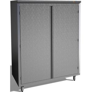 Шкаф кухонный, 1000х600х1800мм, 2 двери распашные, 3 полки сплошные, нерж.сталь, замок