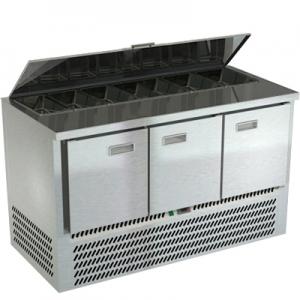 Стол холодильный саладетта, GN1/1, L1.49м, без борта, 3 двери глухие, ножки, +2/+10С, нерж. сталь, дин. охл., агрегат нижний, гнездо 7GN1/6, крышка