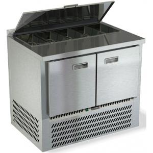 Стол холодильный саладетта, GN1/1, L1.00м, борт H50мм, 2 двери глухие, ножки, -2/+10С, нерж.сталь, дин.охл., агрегат нижний, гнездо 5GN1/3, крышка