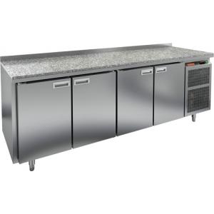 Стол холодильный, GN1/1, L2.28м, борт H50мм, 4 двери глухие, ножки, -2/+10С, нерж.сталь, дин.охл., агрегат справа, столеш.камень