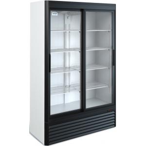 Шкаф холодильный,  800л, 2 двери-купе стекло, 8 полок, ножки,  0/+7C, дин.охл., белый/черный, агрегат нижний