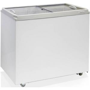 Ларь морозильный, 260л, 2 крышки стеклянные плоские раздвижные , -18С, 3 корзины, колеса, белый, стат.охл., R134a