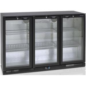 Стол холодильный для напитков, 328л, 3 двери стекло распашные, 6 полок 395х330мм, ножки, +2/+10С, чёрный, дин.охл., R290, подсветка