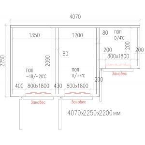 Камера комбинированная из строительных панелей,  16.00м3, h2.20м, 3 двери расп.левые, ППУ80мм