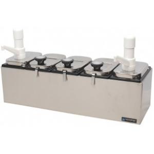 Топпинг-система, 2 дозатора, 5 емкостей пластик, 3 крышки нерж.сталь, 3 половника нерж.сталь