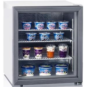 Шкаф морозильный,   88л, 1 дверь стекло, 3 полки, ножки, -15/-22С, стат.охл., белый, обогрев стекла