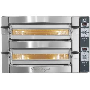 Печь для пиццы электрическая, подовая, 2 камеры 1080х720х140мм, 12пицц D350мм, цифр.управление CD, дверь стекло, под камень