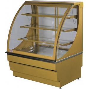 Витрина нейтральная напольная, горизонтальная, L1.25м, 3 полки, золотая, стекло фронтальное гнутое