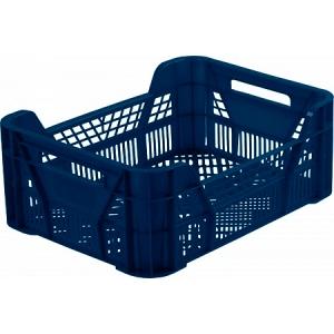Ящик L 40см w 30см h 15,5см перфорированный, пластик синий