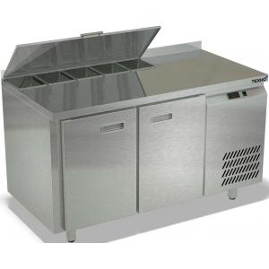 Стол холодильный саладетта, GN2/3, L1.39м, борт H50мм, 2 двери глухие, ножки, +2/+10С, нерж.сталь, дин.охл., агрегат справа, гнездо 5GN1/6-100, крышка