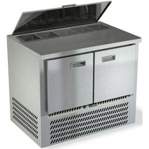 Стол холодильный саладетта, GN1/1, L1.00м, без борта, 2  двери глухие, ножки, +2/+10С, нерж.сталь, дин.охл., агрегат нижний, гнездо 5GN1/6, крышка