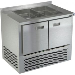 Стол холодильный саладетта, GN1/1, L1.00м, борт Н50мм, 2 двери глухие, ножки, +2/+10С, нерж. сталь, дин.охл., агрегат нижний, гнездо 2GN1/1, без крыш