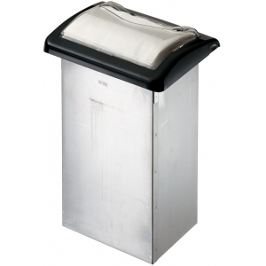 Диспенсер для салфеток на 750шт., встраиваемый, нерж.сталь, фасад пластик прозрачный, черная отделка