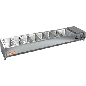 Витрина холодильная настольная, горизонтальная, для топпингов, L1.84м, 7GN1/3+1GN1/2, +2/+7С, стат.охл., открытая, ножки