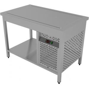Стол холодильный, L1.80м, без борта, открытый, 1 полка сплошная, ножки, 0/+4С, нерж.сталь, агрегат справа, столешница охлаждаемая