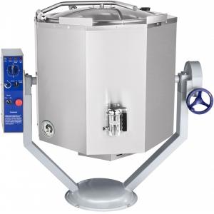 Котел пищеварочный электрический, опрокидывание ручное, 160л, нагрев косвенный, корпус нерж.сталь, миксер, сливной кран