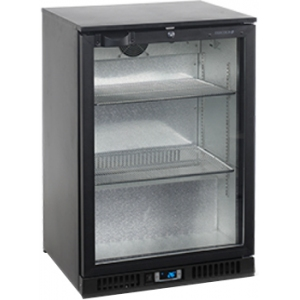 Стол холодильный для напитков, 122л, 1 дверь стекло распашная, 2 полки 498х335мм, ножки, +2/+10С, чёрный, стат.охл.+вентилятор, R600a, подсветка