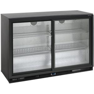Стол холодильный для напитков, 328л, 2 двери-купе стекло, 4 полки, ножки, +2/+10С, чёрный, стат.охл.+вентилятор, R290a, подсветка